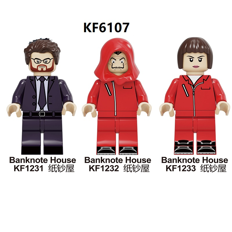 20PCS Wholesale Building Blocks Famous Suspense Movie Banknote House Money Heist Character Retired Killer Figures Toys KF6107 image