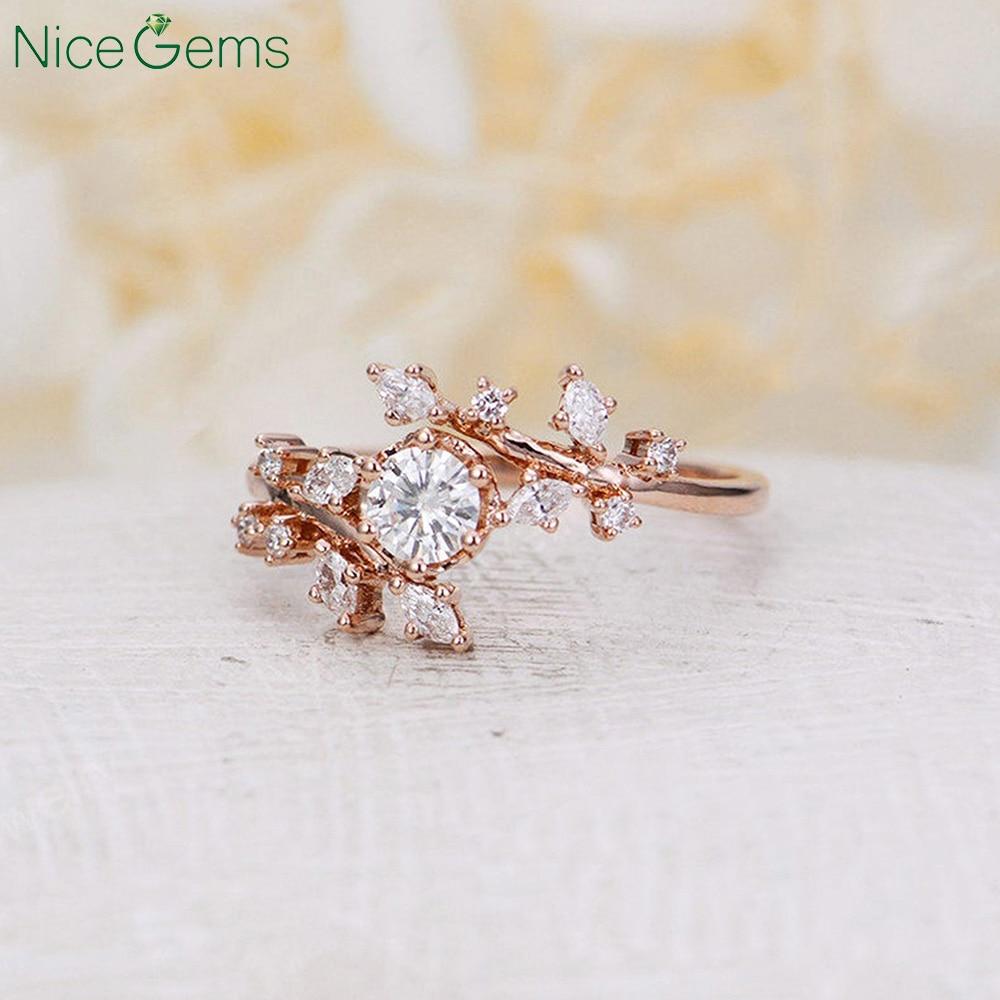 Nicegems 14k Rose Gold Vintage Moissanite Engagement Ring Natural Diamond Cluster Ring Unique Leaf Wedding Bridal Promise Ring Rings Aliexpress