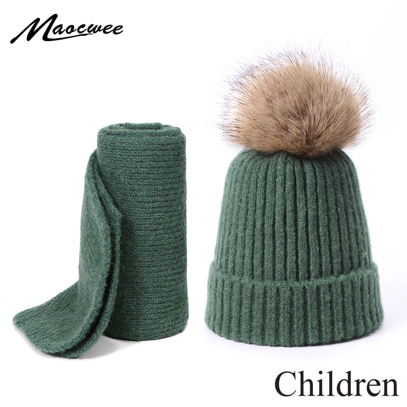 Children Winter Hat Scarf Set With Faux Fur Pompon Boys Girls Knitted Cotton Hat Scarf 2 Pieces Baby Accessories Kids Gift Sets