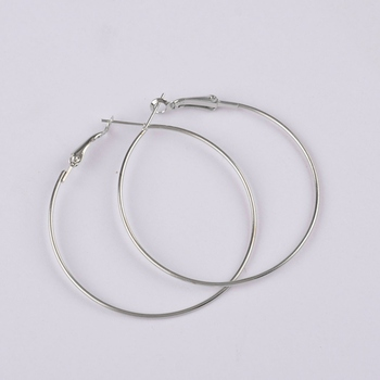 500pcs rhodium plated 30mm hoop earring findings round circle ring earrings jewelry findings accessories