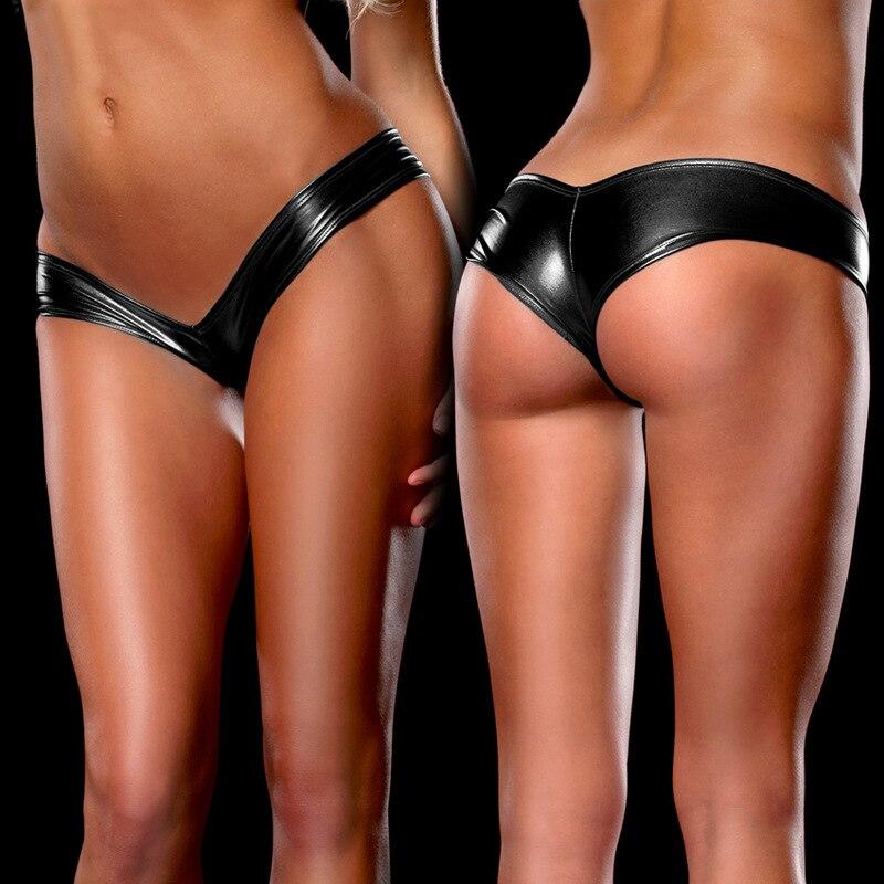H6e81a3d39f9a4f9a9ddbaacc111a881ai Women Sexy Panties Underwear Woman Solid Flashing Opaque Patent Leather Imitation Leather Pants Shining Stringi Underwear