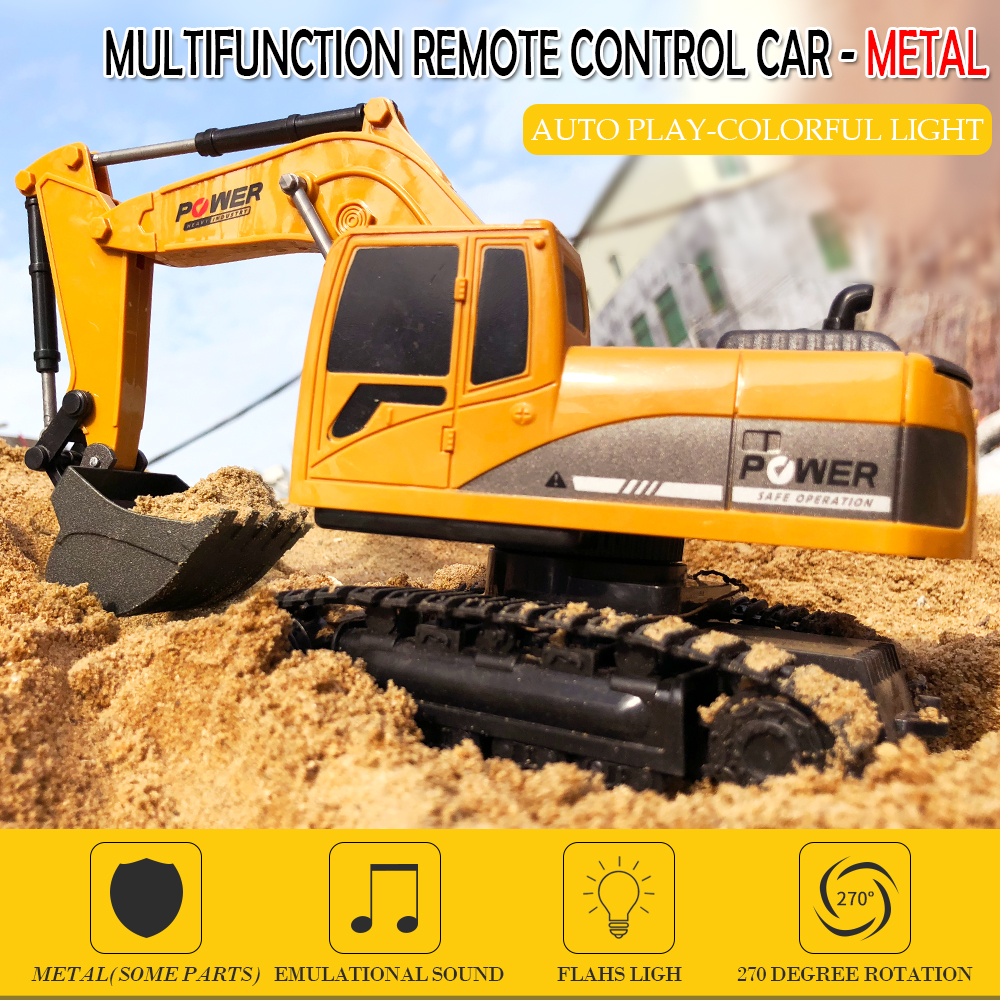 1:24 2.4Ghz 25cm Wireless RC Alloy Excavator 6CH Simulation RC Excavator Charging Toy RC Car Engineering Car Children Toy Gift