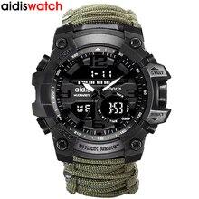 최고의 브랜드 AIDIS 남자 군사 시계 패션 야외 나침반 방수 LED 쿼츠 시계 스포츠 시계 남성 relogios masculino
