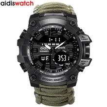 العلامة التجارية الأعلى AIDIS الرجال العسكرية ساعة الموضة في الهواء الطلق البوصلة إضاءة مقاومة للماء كوارتز ساعة رياضية ساعة الذكور relogios masculino
