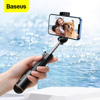 Baseus-Mini palo de Selfie inalámbrico para móvil, palo de Selfie extensible de mano plegable con Bluetooth Para iPhone 12 11 Pro Max Xiaomi