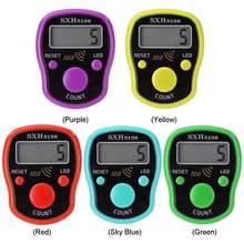 Mini marcador de ponto linha dedo contador lcd display digital elétrico com luz led para buda orar costura tricô tecer ferramenta