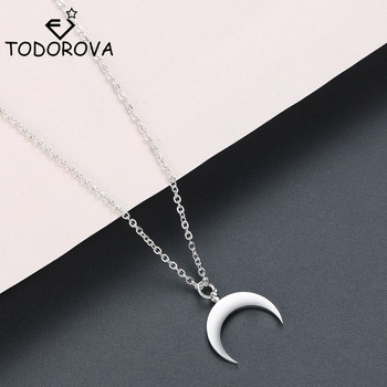 Todorova Stainless Steel Curved Crescent Moon Pendant Necklace OX Double Horn Necklaces for Women Delicate kolye Jewelry