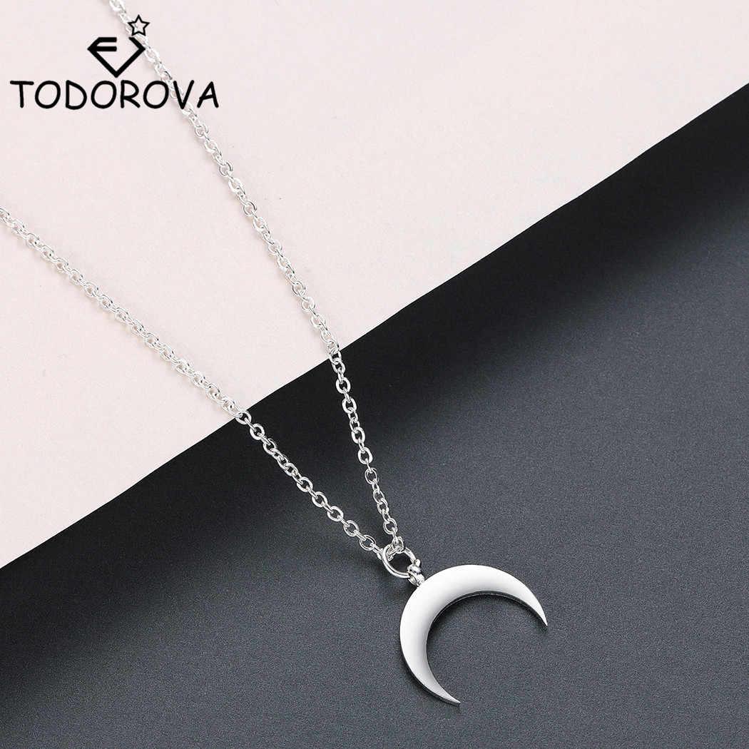 Todorova נירוסטה מעוקל סהר ירח תליון שרשרת שור קרן כפולה שרשראות לנשים עדין kolye תכשיטים