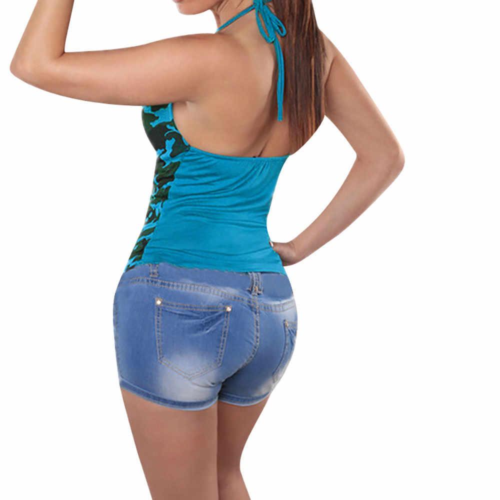 הסוואה נשים אפוד קיץ גופיית שרוול גופיות יבול למעלה feminino חולצת טי femme Camis נשים של חולצות חולצה