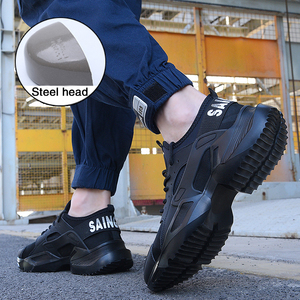 Image 4 - New song card Lightweight fashion breathable Work sneakers Safety Shoes men and women steel toe cap Anti crush work safety Boots