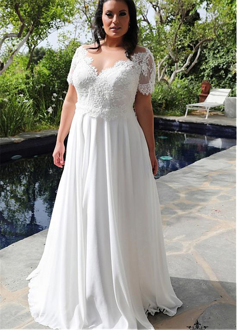 Plus Size 2020 Modest Lace A-Line Wedding Dresses Chiffon Skirt Bridal Gowns Spring Wedding Wear Custom