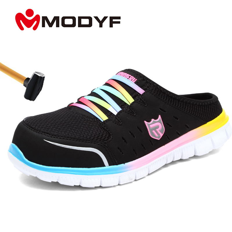 MODYF Womens Safety Shoes Steel Toe Work Shoes Comfortable Lightweight Anti-smashing Non-slip Protective Slippes