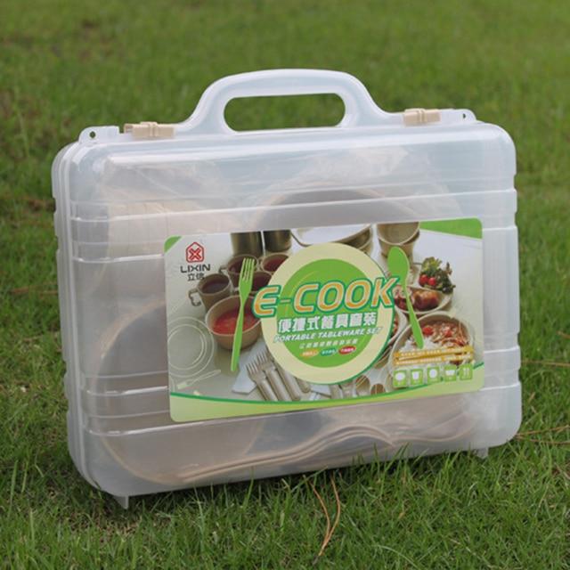 24 piezas Picnic Camping al aire libre vajilla reutilizable platos Set senderismo cuchara plato arco Kit con caja de plástico