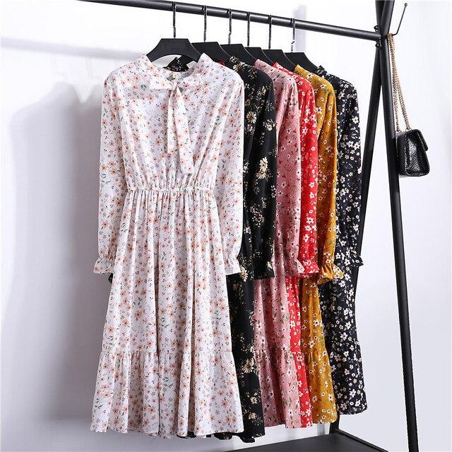 Floral Long Chiffon Party Dress Women Fashion Full Sleeve Bow O-Neck Autumn Winter Dress Plus Size Casual Vestido Maxi Boho Robe 4