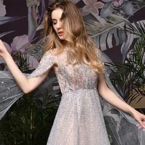 Image 5 - Silver Grey Luxury Dubai Evening Dresses 2020 Long Sleeves O Neck A Line Sexy Evening Gowns