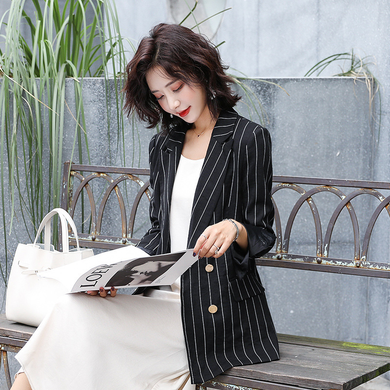 Women's business suit jacket Casual autumn double breasted jacket Temperament long sleeve striped blazer Office top 2019