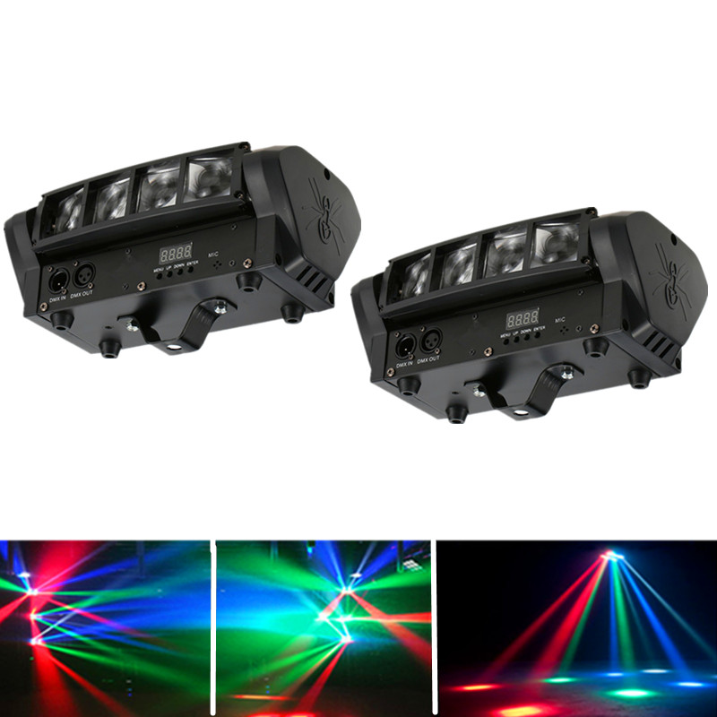 2pcs/lot 8X10W Mini LED Spider Light DJ Disco Lighting DMX512 RGBW Beam Effect LED Stage Moving Head Lighting Home Party Lamp