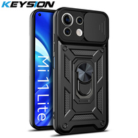 KEYSION-funda a prueba de golpes para Xiaomi Mi 11 Lite, 5G, 11i, 11X Pro, soporte de anillo, protección de cámara, POCO M3 Pro