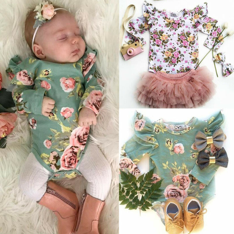 Princess Newborn Baby Girl Flowers Bodysuits Cotton Jumpsuit Clothes Ruffles Fly Sleeve O-Neck Floral Bodysuits Baby Girl 0-18M