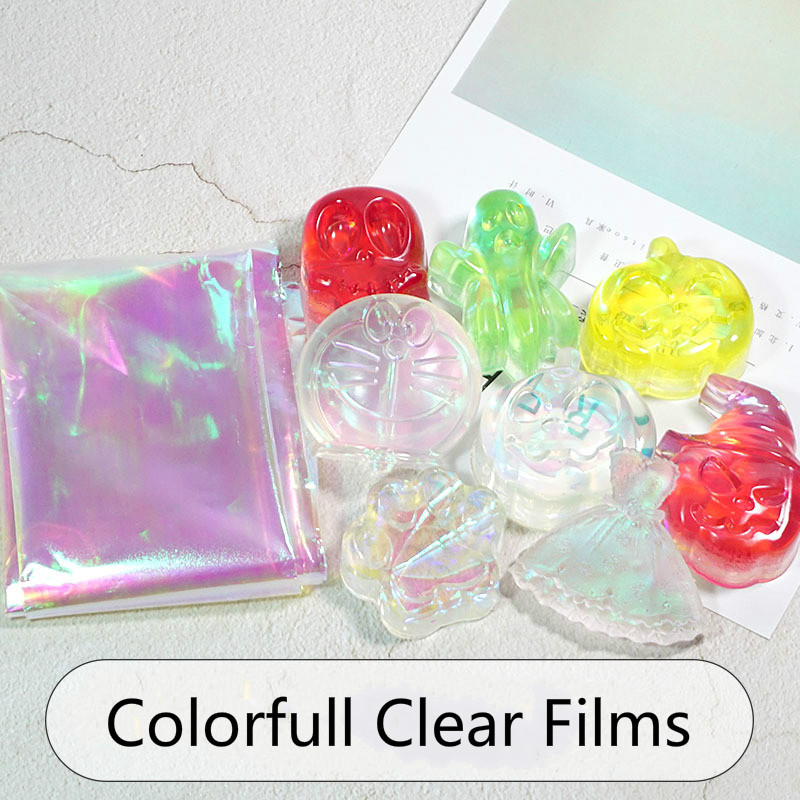 Laser Iridescent Clear Film Thick Cellophane Transparent Rainbow Sheet Resin Inclusions Embellishments For Resin Art