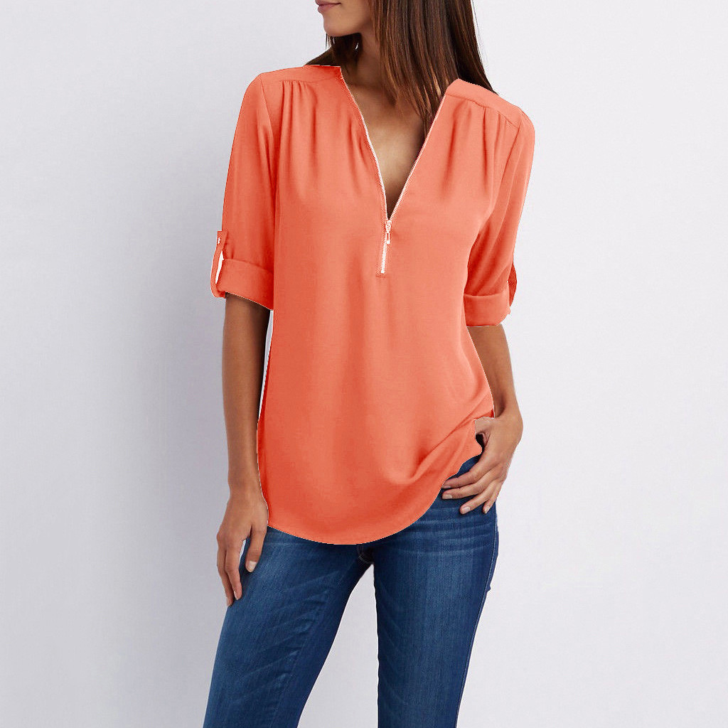 Blouse Women Solid Folded Sleeve Zipper Shirt Loose Plus Size Long Sleeve  Blouses Tops New Women Sexy V Neck Blouse2020