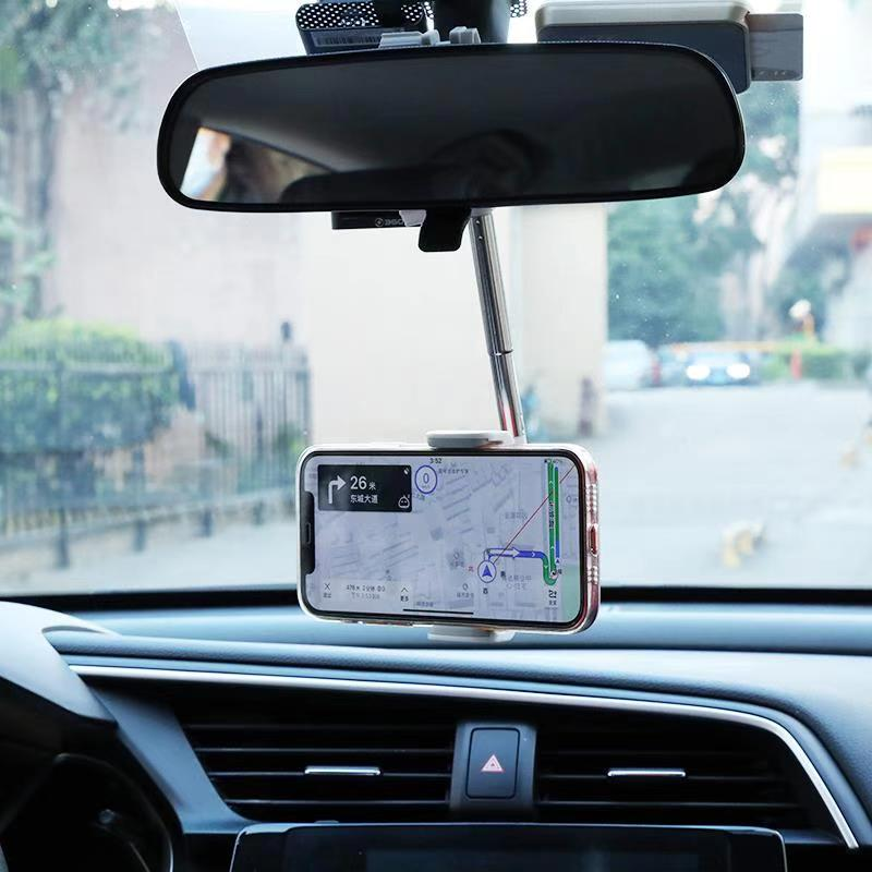 Car Rearview Mirror Mount Phone Holder for iPhone Samsung Xiaomi Adjustable GPS Seat Smartphone Holder Universal Extending Stand