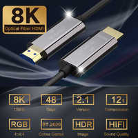 HDMI 2,1 Cable OM3 HDMI 8K Deluxe Cable HDMI Cable de fibra óptica Ultra-HD (UHD) 120Hz 48Gbs HDR 4:4:4 para Samsung 8K