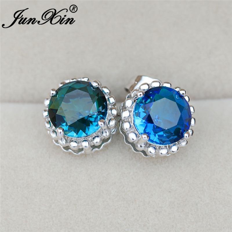 Female Cute Green Blue Rainbow Crystal Round Stud Earrings For Women White Gold Rose Gold Color Mystic Zircon Wedding Earrings