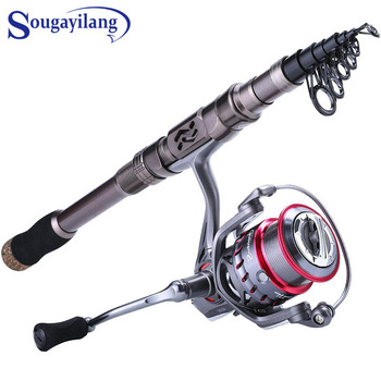 Sougayilang Telescopic Fishing Rod and Reel Combos Portable  1.8M-2.4M Travel Fishing Pole 9+1BB Spinning Reels Fishing Pesca