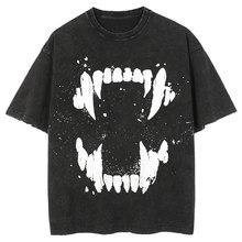 LACIBLE 2021 Summer Men Hip Hop Streetwear T Shirt Teeth Print Vintage Washed T-Shirt Harajuku Fashion Cotton Tops Tees Black