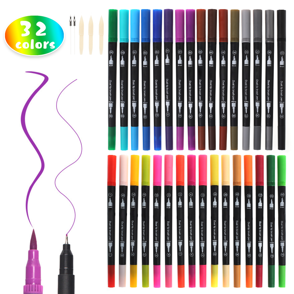 32 Colors Permanent Acrylic Paint Marker Pens Dual Tip 0.4/3mm Art Marker Pens Student School Office Stationery