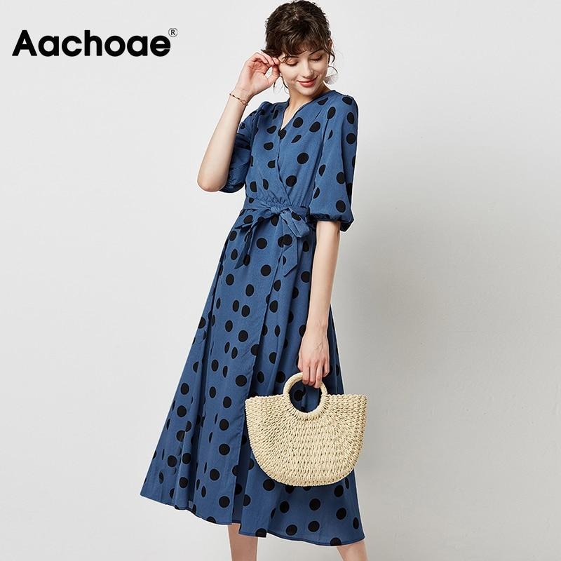 Aachoae Women Elegant A Line Long Dress 2020 Vintage Polka Dot V-neck Party Dress Lantern Sleeve Midi Casual Dresses Robe Femme