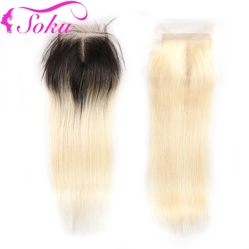 Honey Blonde Brazilian Straight Lace Closure 4*4 Ombre Blonde Free/Middle Part Lace Closure With Baby Hair SOKU Remy Hair
