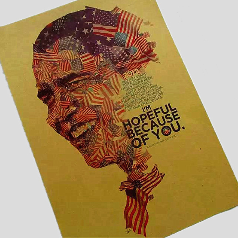 High qualityObama USA president of vintage kraft paper retro poster pictures for home decor house bar cafe sticker XF-091 image