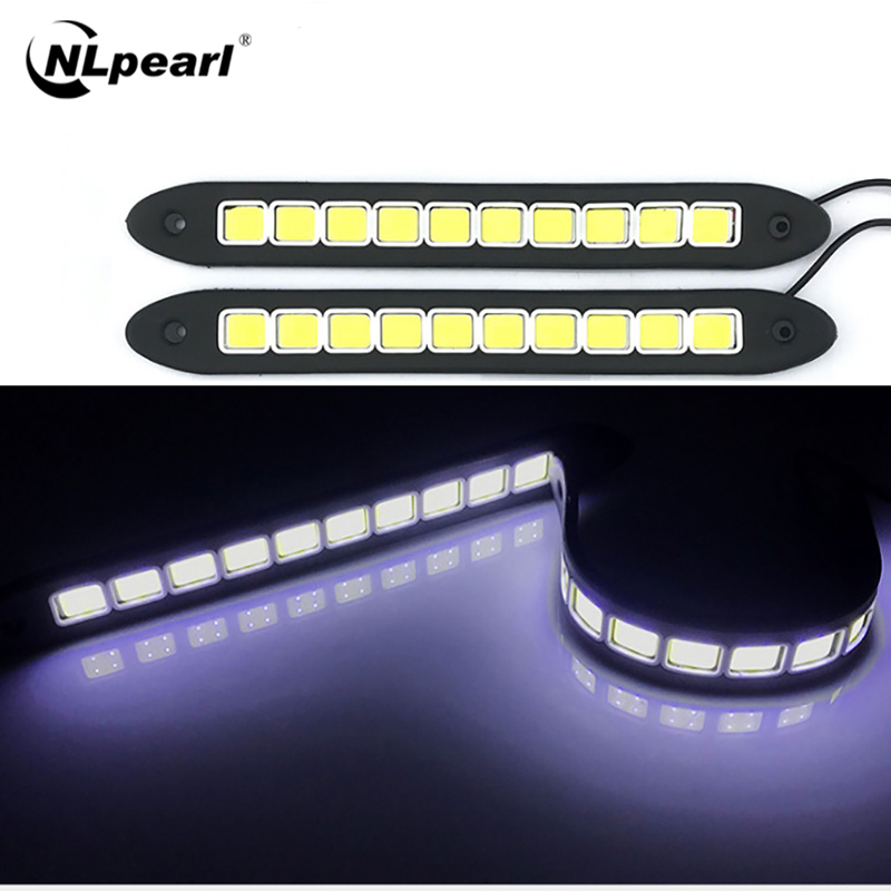 Nlpearl 2Pcs Auto Licht Montage Flexible LED Tagfahrlicht Wasserdicht DRL Led COB Auto Styling Tag licht