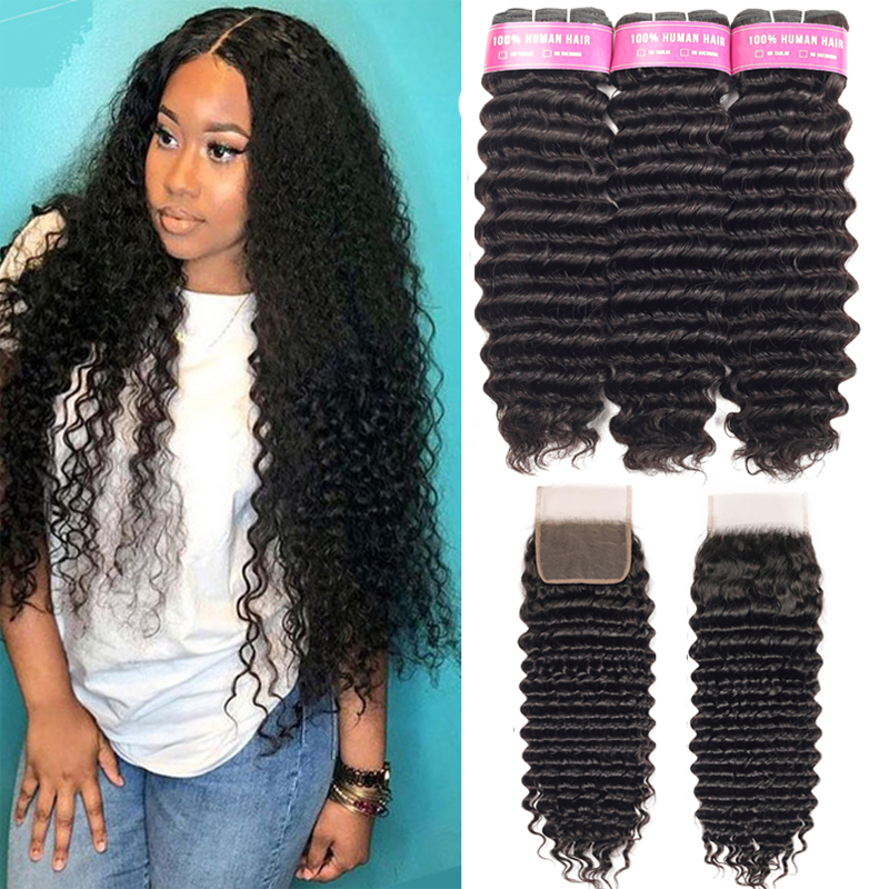 SA Ship  Deep Wave Hair Bundles With Closure  s 3 Bundles Deep Wave With Closure 2