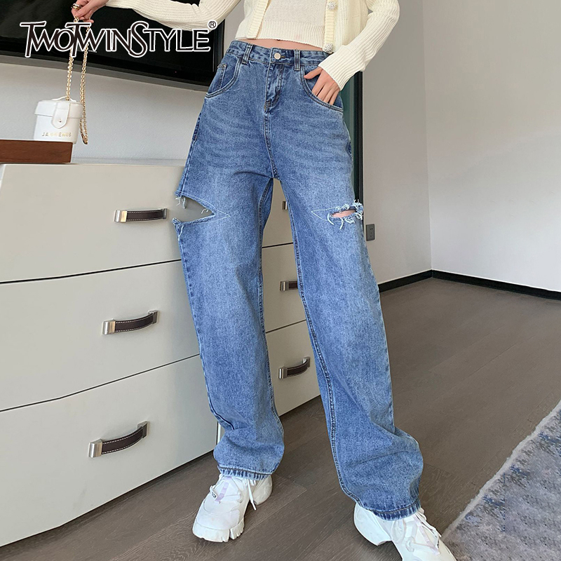 TWOTWINSTYLE Casual Loose Women Full Length Pants High Waist Ripped Hole Tassel Denim Wide Leg Pant For Female Clothing 2020 New