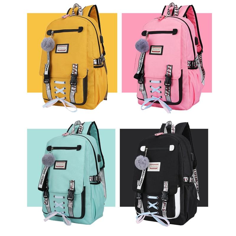 Bolsas escolares grandes para chicas adolescentes cinta USB mochila escolar bloqueo nylon 2019 gran bolsa de escuela secundaria para mujeres adolescentes mochila