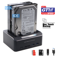 Dual Bay USB 3.0 to SATA IDE External Hard Drive Docking Station With 2 Port Hub and Card Reader For 2.5/3.5 Inch SATA/IDE HDD