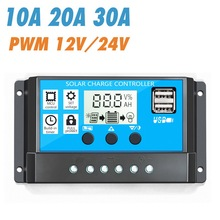 2018 new 30a 12 24v solar regulator charge controller pwm charge mode lcd solar panels genetator voltage current controller Solar Charge Controller 12V/24V 10/20/30A Auto PWM 5V Output Solar Panel Battery Controller Regulator With Dual USB LCD Display