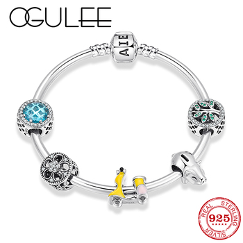 Luxury Crystal Tree of Life Beads 925 Sterling Silver Bracelet for Women Jewerly Lucky Pig year Enamel Car Flower Bead Bangles