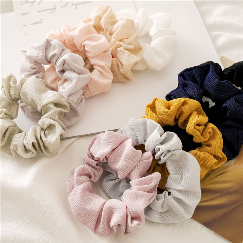 Fashion Solid Color Scrunchie Toothpick Wrinkle Elastic Hair Bands Pink Sweet Elegant Women Girls Hair Accessories Ponytail Ring