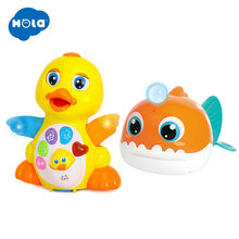 HOLA 808&8103 Dancing Walking Yellow Duck And Bath Toy Bathing Spouts Beaver Lanternfish bathroom Toys(China)