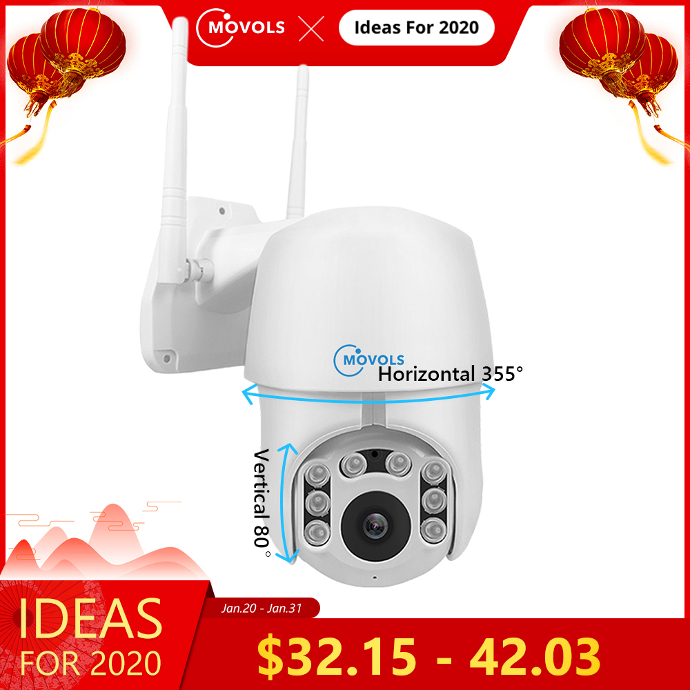 Movols 1080P PTZ Auto tracking IP camera Wifi 4X Digital Zoom Security Cameras IR Waterproof Speed Dome 2MP Surveillance camera