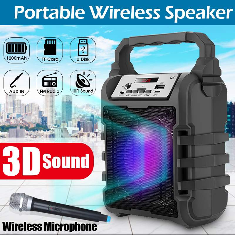 Portable Karaoke Speaker 3D Wireless <font><b>bluetooth</b></font> Speaker System Bass Subwoofer Microphone Support Hands-free/USB/TF Card/AUX/FM image
