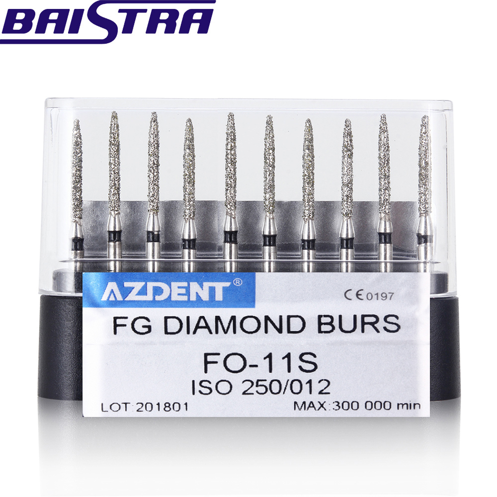 FO-11S 10 Pcs/set Dental High Speed Diamond Burs  Dentist Super Coarse Diamond Dental Lab Tools
