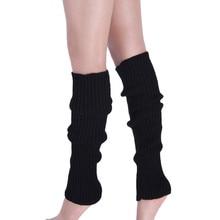 Высокие носки; гетры; Для женщин Чистый Цвет гетры теплая шерсть вязать ноги запасы зимние длинные хлопковые носки до колена для девочек