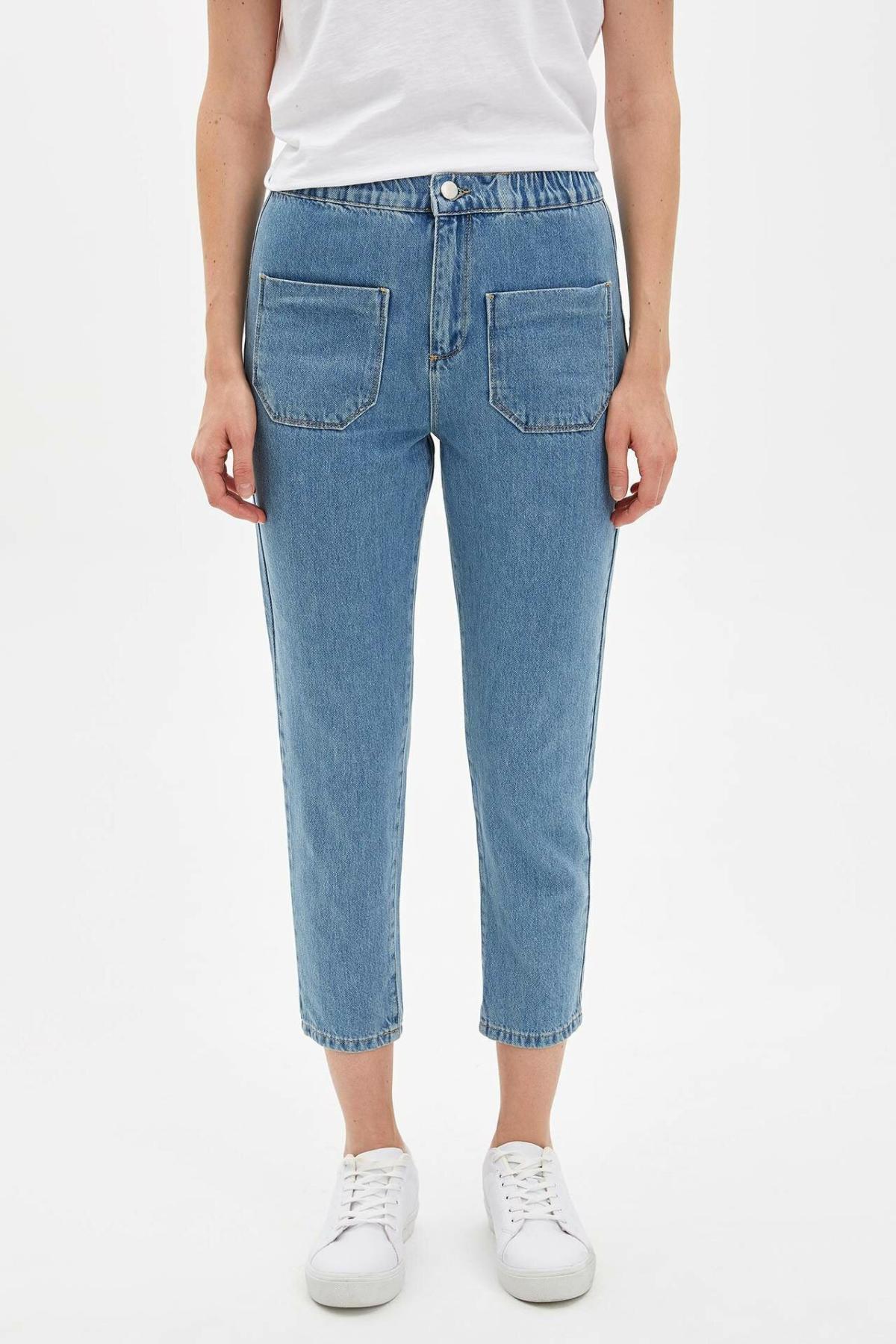 DeFacto Fashion Woman Denim Trousers Casual Solid Striaght Crop Pants Female Mid Waist Leisure Comfort Pant - L7754AZ19AU