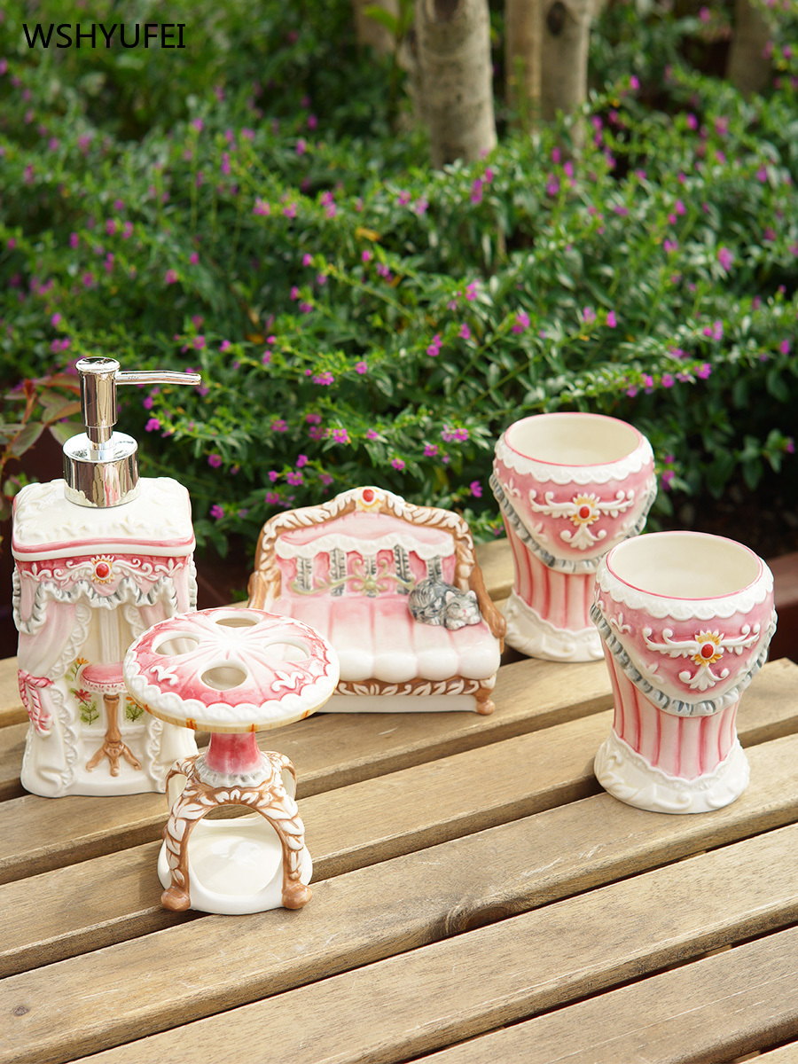 5Pcs court pink girl ceramic bathroom accessories soap bottle / toothbrush holder / mouth cup / soap dish wedding Christmas gift image