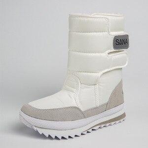 Image 4 - Dray Botas de nieve impermeables para mujer, cálidas, de felpa, antideslizantes, talla grande